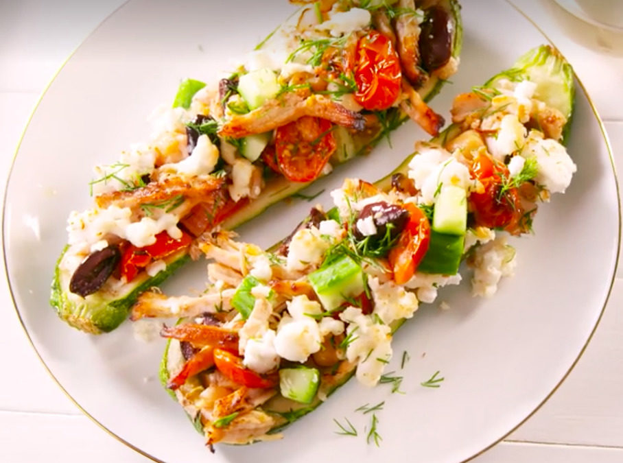 Greek Chicken Stuffed Zucchini
